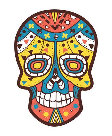 traje mexicano: sugarskull color Vectores
