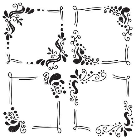 Cadre floral dans le style de griffonnage Banque d'images - 24578621