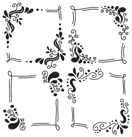 floral frame in doodle style