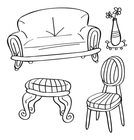 living thing: furniture set in doodle style Illustration