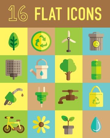 flat panel: go green flat icon Illustration