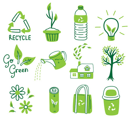 reduce reutiliza recicla: GO GREEN ICON SET