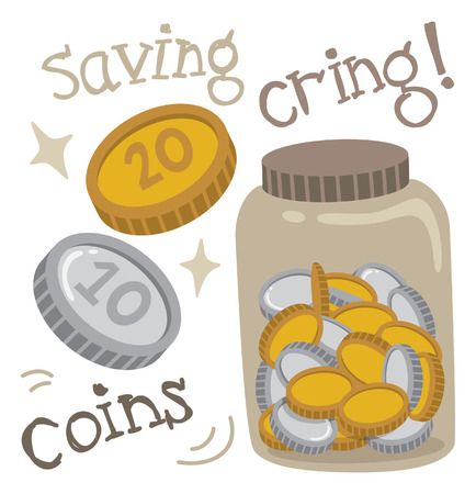 saving coins Vector