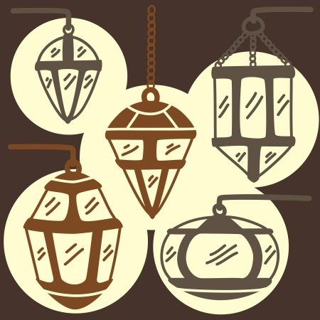 set of doodle lamp Vector