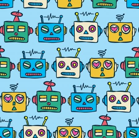 vintage robot pattern  Ilustração