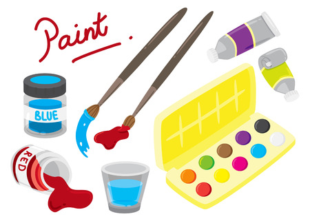 cartoon painting equipment Vector