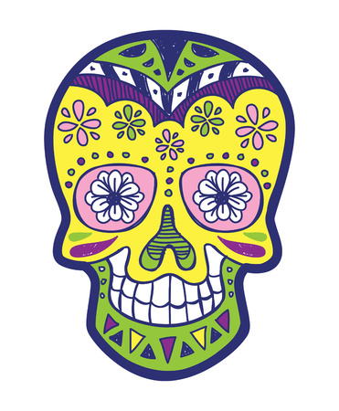 traje mexicano: sugarskull color Vectores