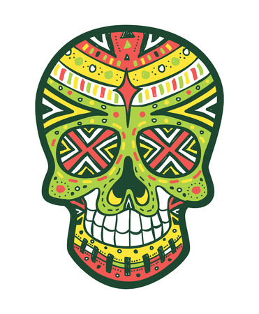 dia de muertos: sugarskull color Vectores