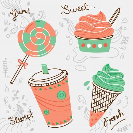 frozen food: desserts doodle