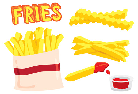 french fries: cartoon fries Illustration