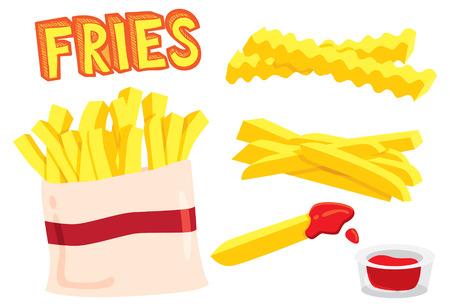 illustration of food: papas fritas de dibujos animados