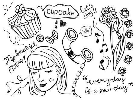 girl doodle Vector