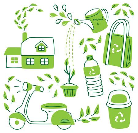 go green icon doodle Vector