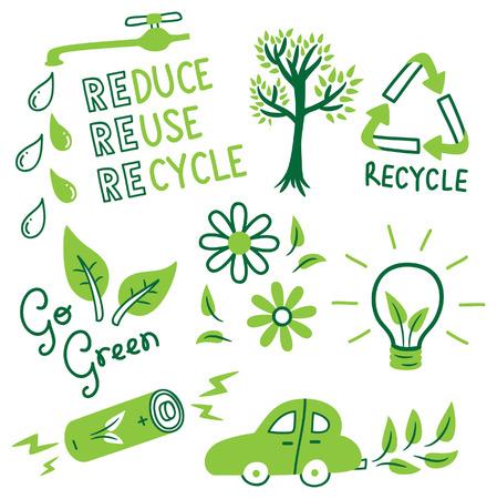 go green icon doodle Vectores