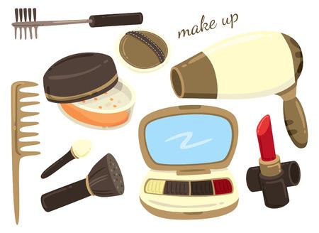 makeup products: make up tools Illustration