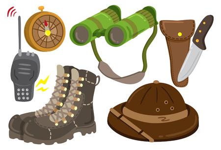 senderismo: icono de engranaje de safari