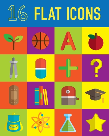 school things: back to school flat icon Illustration