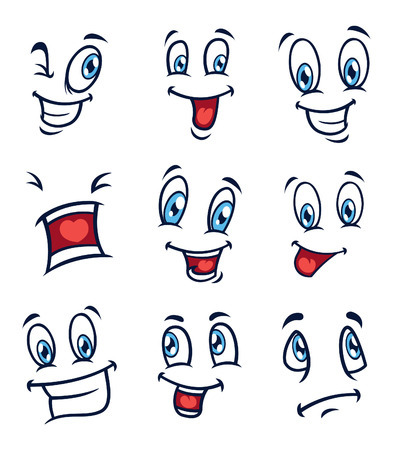 emotions faces: set of cartoon face