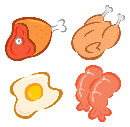 set of food doodle Vector