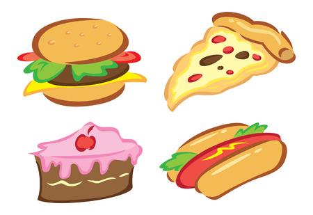 eat cartoon: set of food doodle