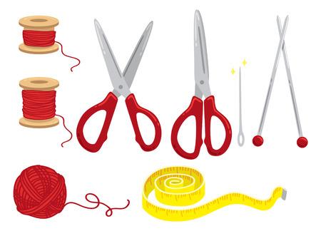 sewing kit: cartoon sewing kit Illustration