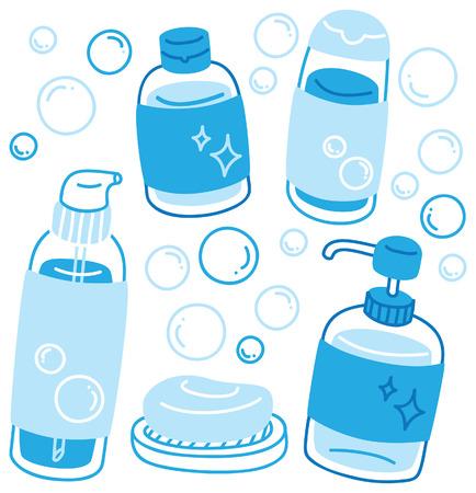 set of various liquid soap