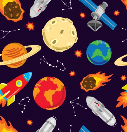 astronaut in space: cartoon space pattern