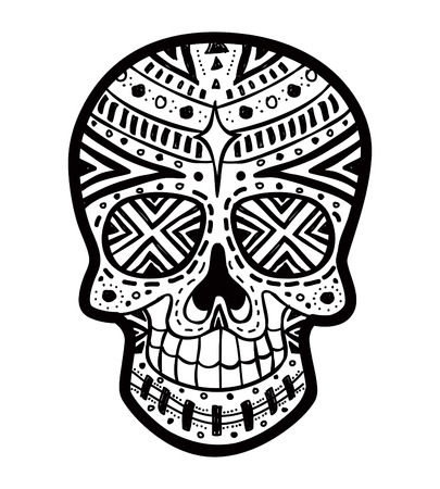dode bladeren: suiker schedel Stock Illustratie