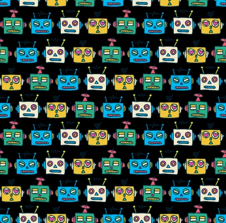 robot head pattern Vector