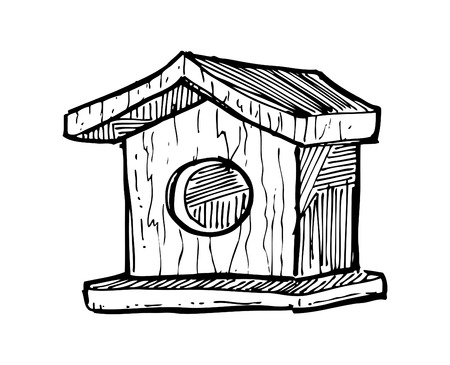 sketchy bird house Vector