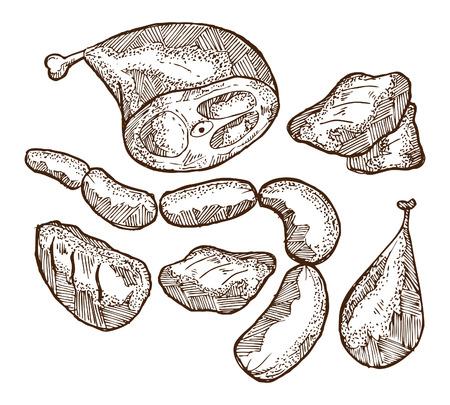 rindfleisch roh: Set von rohem Fleisch Illustration