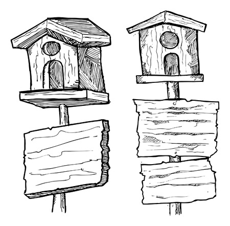 grunge wooden plank with bird house Vector