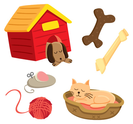 Dog and cat vector illustration.