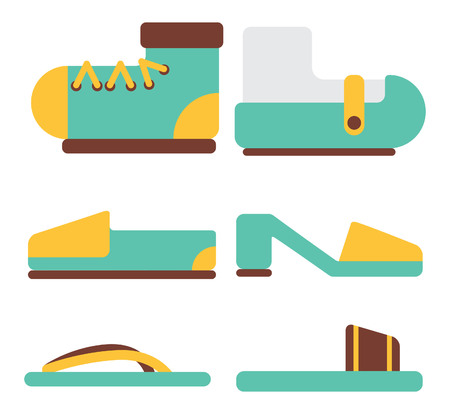 various shoes in flat style Illustration