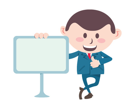 businessman with blank board Illustration