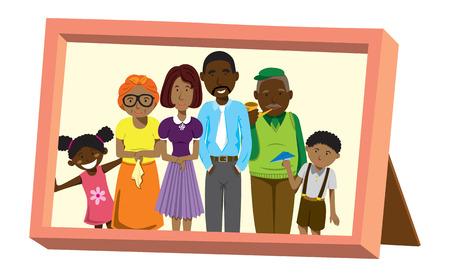 Afrikaanse familie foto vectorillustratie.