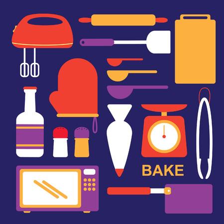 Baking equipment in flat style illustration