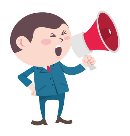 Hombre de negocios gritando usando megáfono Ilustración de vector