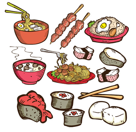 set of asian food in doodle style Illustration
