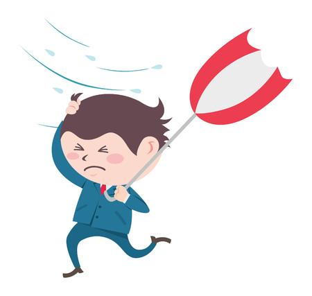 cartoon umbrella: Business man with umbrella Illustration