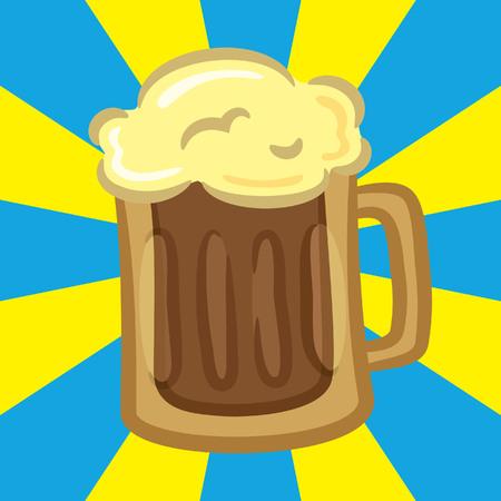 Beer icon on burst background Çizim
