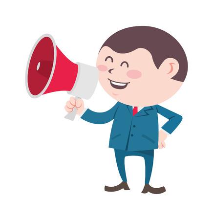 homem de negócios gritando usando megafone Ilustración de vector