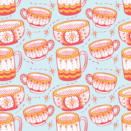 mug, cup and bowl seamless background Illustration