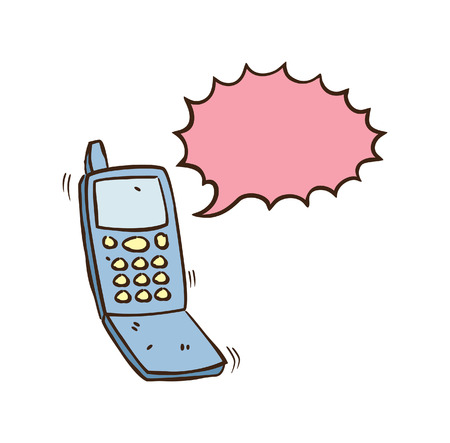 Cellphone with speech bubble in doodle style Illustration