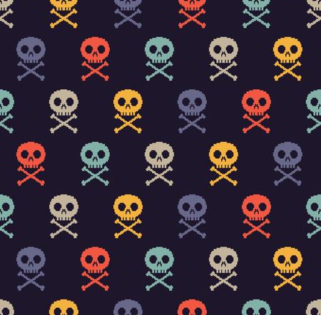 Pixel skull seamless background 矢量图像