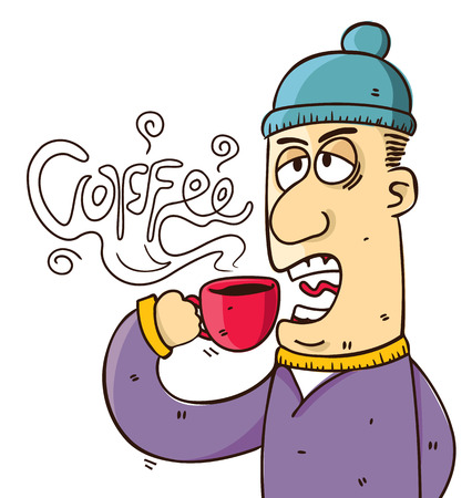 cartoon Man drinking coffee in doodle style Illustration