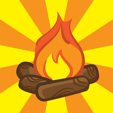 campfire icon on burst background Ilustração