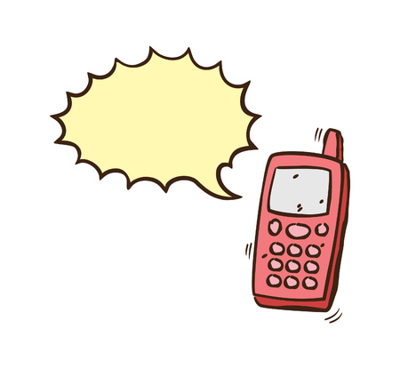 hand drawn cellphone with speech bubble