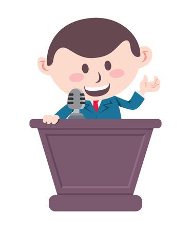 businessman speaking on podium Illustration