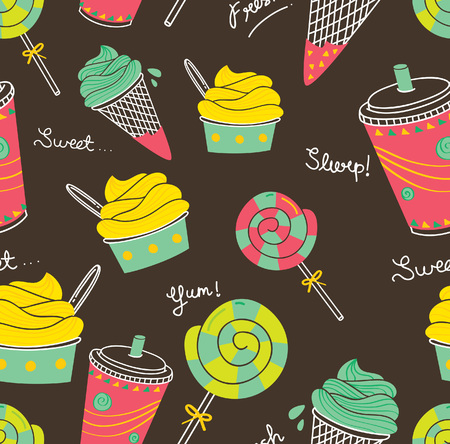 ice: Ice cream and candy seamless background Illustration